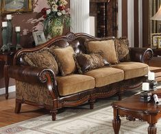 Traditional Sofas | dreena traditional bonded leather and chenille sofa acme furniture