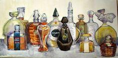 Bottles, watercolor