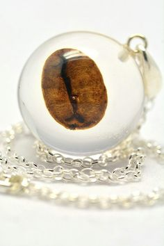 Brown Resin Pendant with Coffee Bean, Coffee Seed Necklace, Pendant on a Silver…