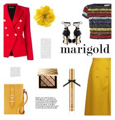"""marigold"" by heloisacintrao ❤ liked on Polyvore featuring Rochas, Alice + Olivia, Balmain, Dolce&Gabbana, Gucci, Burberry, Victoria's Secret, gold, balmain and marigold"