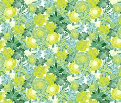 Succulent Succulents fabric by emilyannstudio on Spoonflower
