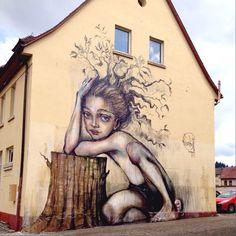 Herakut mural in Freiburg at the Ganter brewery. #streetart #freiburg #germany #deutschland