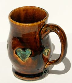 Root Beer Brown with Turquoise Hearts Large by muddywaterscc, $24.00