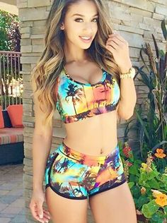 Hot Scoop Two Pieces Boxers Print Bikini Swimsuit