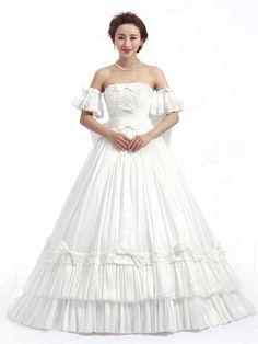 ウェディングドレス プリンセスライン 可愛いデザイン 袖付き タフタ アイボリー 大きいなリボンあり JWLT14021