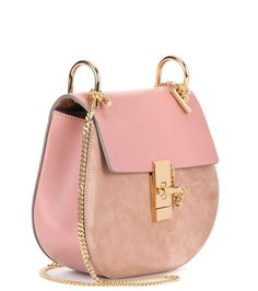 Drew pink leather and suede shoulder bag