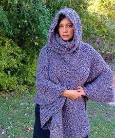 Hooded Cowl Crochet Poncho Free Pattern