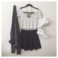 Image via We Heart It #acessories #black #cardigan #casual #clothes #clothing #converse #fashion #fashionable #girl #look #necklace #nightout #outfit #shorts #skirt #style #stylish #summer #summerstyle #whiteconverse #summeroutfit #summerlook #skaterskirt #cute #perfect #backtoschool #ootd