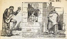 Xilografía en cabecera de un hombre tocando la guitarra y otro con capa que está junto a una ventana, donde se asoma una mujer tocando la guitarra.