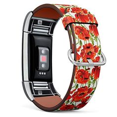 Compatible with Fitbit Charge 2 - Replacement Accessory Leather Band Strap Bracelet Wristbands with Adapters (Red Pop...