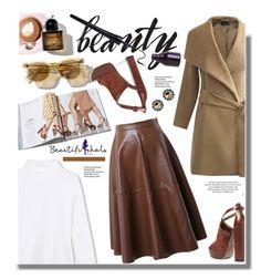 """Beautifulhalo.com: Beauty!!!"" by hamaly ❤ liked on Polyvore featuring Aquazzura, Martha Stewart, Miu Miu, Sweater, ootd, coat, leatherskirt and beautifulhalo"