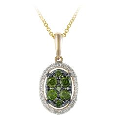 EFFY 1/3 ct. tw. Green and White Diamond Pendant in 14K Yellow Gold ($700) ❤ liked on Polyvore featuring jewelry, pendants, green, round gold pendant, 14 karat gold jewelry, 14k yellow gold pendant, 14k gold jewelry and round pendant