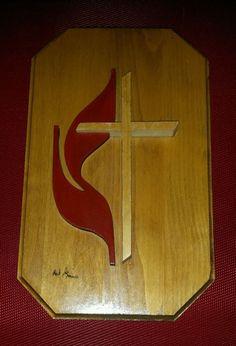 United Methodist Cross Hand Made Wooden Plaque Folk Art Red Flame Wall Art Decor