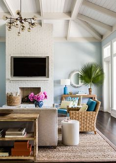 TV Niche in Fireplace, Cottage, Living Room, Andrew Howard Interior Design
