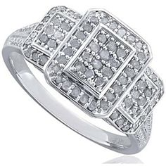 1/2 Carat D/VVS1 Sterling Silver Rectangle Halo Style 3 Stone Ring by JewelryHub on Opensky