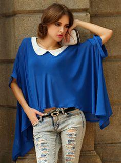 Blue Vintage Irregular Hem Loose Chiffon Shirt