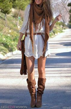 Cool modern hippie fringe scarf & gypsy fun romper with boho chic leather slouchy boots. For the best BOHEMIAN fashion style FOLLOW https://www.pinterest.com/happygolicky/the-best-boho-chic-fashion-bohemian-jewelry-gypsy-/ now.