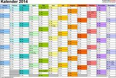 Vorlage 2: Jahreskalender 2014 als PDF-Vorlage, Querformat, DIN A4, 1 Seite, Monate nebeneinander, Tage untereinander, mit Feiertagen und Ka...