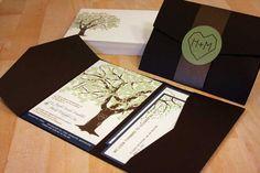 SAMPLE of Grandfather Oak Tree Pocketfold Wedding Invitations. via Etsy.