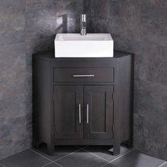Barletta Rectangluar Sink with Alta Wenge Oak Corner Vanity Cabinet