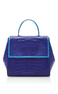 Shop Cobalt Crocodile Fold Over Flap Bag. This top handle bag by **Nancy Gonzalez** is rendered in crocodile skin and features a foldover flap with magnetic closure, long shoulder strap, piping detailing, and suede lined interior. Cute Handbags, Purses And Handbags, Nancy Gonzalez, Handmade Handbags, Cute Purses, Beautiful Bags, Crocodile, Tote Bag, Cobalt