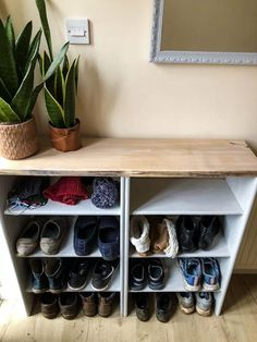 I don't know about you but January is often a time for sorting and organizing. Back in lockdown yet again in the Uk, my husband is throwing himself into DIY projects - it seems the perfect time to sort out a storage solution to replace our baskets of shoes. The new, super easy to make DIY shoe storage is made with two bookcases screwed together and lovely oak top. It seemed only logical to use the bookcases to hand rather than start from scratch, I am all for using what we have.Our m… Diy Storage Boxes, Diy Storage Bench, Storage Footstool, Cube Storage, Storage Spaces, Storage Baskets, Storage Ideas, Shower Curtain With Valance, Cardboard Recycling