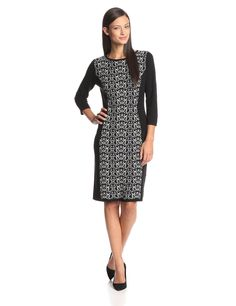 Three-Quarter-Sleeve Printed-Front Sweater Dress by Nine West
