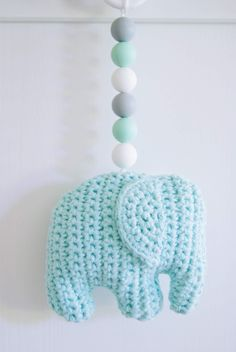 virkattu norsu vaunulelu Knitting For Kids, Crochet For Kids, Knit Crochet, Crochet Elephant, Baby Gym, Stuffed Toys Patterns, Crochet Animals, Handicraft, Diy For Kids