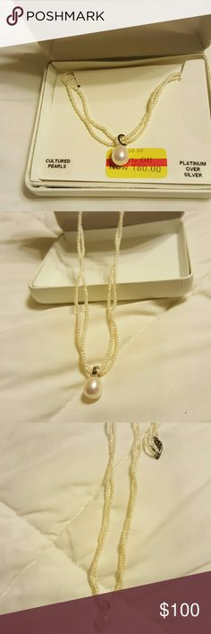 Cultured pearl necklace *** SALE**! Platinum over silver Jewelry Necklaces
