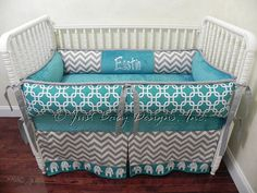 Bumpers come in 4 pieces, with ties on top and bottom, and include hidden zippers for easy cleaning. Available thin or thick (pictured.)  Crib Sheet is teal minky dot fabric.  Tailored crib skirt with band and accent stripe has 4 sides and 17 drop.  36 x 36 Blanket has gray chevron