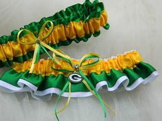 Thought of this for my sister in law. Green Bay Packers Theme Wedding Garter Bridal by PerfectGarter, $45.00