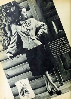 """Barbara Stanwyck (1907-1990) modelling the latest Hollywood fashion, from """"Photoplay-Movie Mirror"""", March 1942"""