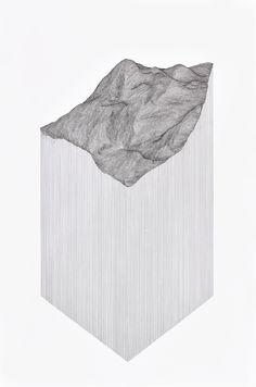 "Katy Ann Gilmore, ""Projected Terrain"", 2015. (pen on 140 lb paper, 24"" x 36"")"