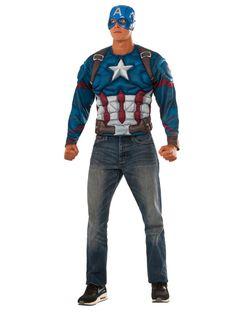 a5586559797 Check out Men s Captain America Civil War Muscle Chest Captain America  Long… Captain America Costume