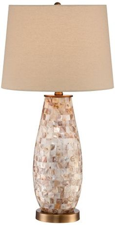 Kylie Mother of Pearl Tile Vase Table Lamp Universal Lighting and Decor