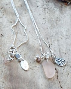 Sterling Silver Rare Pink Sea Glass with by SunshinedayDesigns