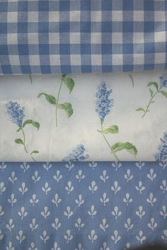 Vintage Laura Ashley Fabrics: Gingham, Summertime, and Trefoil. Used to have the flower one as bedroom curtains! Laura Ashley Fabric, Laura Ashley Home, Laura Ashley Vintage Bedding, Love Blue, Blue And White, White Cottage, Linens And Lace, Blue Gingham, Fabulous Fabrics
