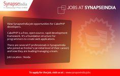 View SynapseIndia job opportunities for CakePHP developers.  We're hiring CakePHP developers for Noida location.   https://synapseindiajobs.wordpress.com/2017/03/28/synapseindia-job-for-cakephp-developers/