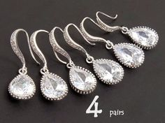 Set Of 4 Will You Be My Bridesmaid Gift Bridesmaid Jewelry Wedding Jewelry Set Dangle Teardrop Earrings