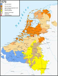 The Dutch Revolt was the successful battle of the northern, largely Protestant Seven Provinces of the Low Countries against the rule of the Roman Catholic King Philip II of Spain, hereditary ruler of the provinces, map of 1579 Netherlands Map, Kingdom Of The Netherlands, Historical Architecture, Historical Maps, Utrecht, Holland Map, European Map, Old Maps, World History