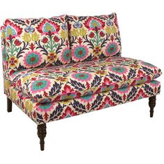 Yasmin Settee The Bohemian Bungalow ❤ liked on Polyvore featuring home, furniture, boho style furniture, damask furniture, bohemian furniture, floral furniture e bohemian style furniture