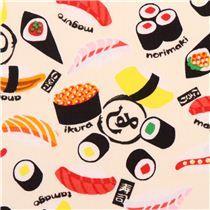kawaii beiger Sushi Oxford Stoff von Kokka aus Japan