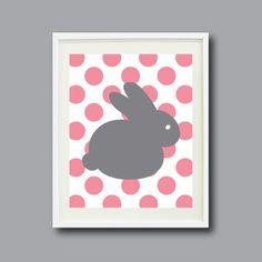 Bunny Rabbit Art Print 8x10 or 11x14-Polka Dots-Nursery, Kids Room, Playroom-Pink, White, Grey/Gray OR Choose Color-Modern Wall Art by GatheredNestDesigns on Etsy https://www.etsy.com/listing/125863585/bunny-rabbit-art-print-8x10-or-11x14