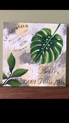 Decoupage Vintage, Stencils, Plant Leaves, Coasters, Tropical, Wall Art, Diy, Painting, Yard Art