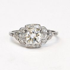 Vintage 1940s Platinum and Diamond Engagement by SITFineJewelry