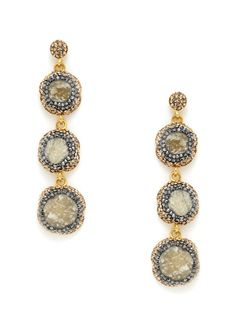 Brazilian Druzy & Amazonite Triple Drop Earrings by Grand Bazaar - New York at Gilt