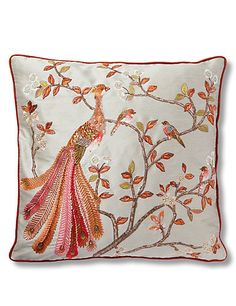 Embroidered Peacock Cushion | M&S