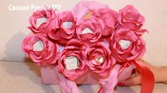 Букет из конфет - Сумочка с розами - Розы из конфет
