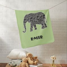 Elephant with Black and White Swirls on Green Receiving Blanket