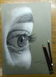Eye drawing Art 3 project- close up charcoal drawing of an element on the human face